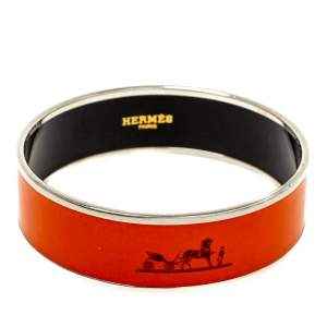 Hermès Orange Enamel Calèche Wide Bangle Bracelet