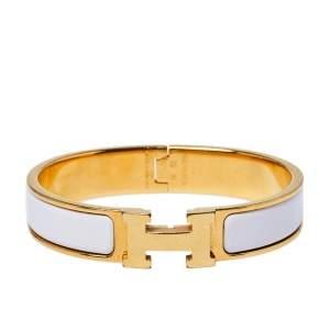 Hermès Clic H Craie Enamel Gold Plated Narrow Bracelet PM