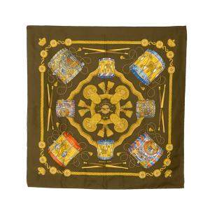Hermes Brown Les Tambours Scarf