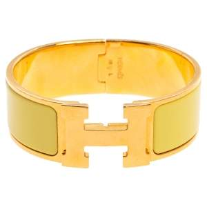 Hermes Clic Clac H Yellow Enamel Gold Plated Wide Bracelet PM