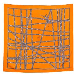 Hermès Orange Bolduc Silk Twill Scarf