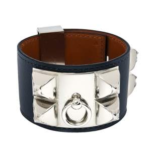 Hermes Collier De Chien Graphite Leather Palladium Plated Cuff Bracelet S