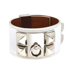 Hermes Collier De Chien Epsom Leather Palladium Plated Cuff Bracelet S
