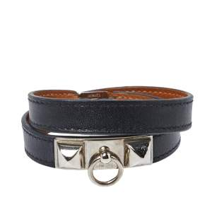 Hermes Rivale Double Tour Black Leather Palladium Hardware Bracelet S