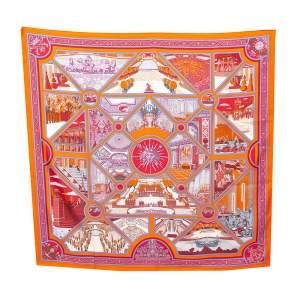 Hermès Orange Flanerie a Versailles Silk Scarf