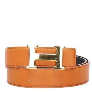 Hermes Orange Leather Constance Belt