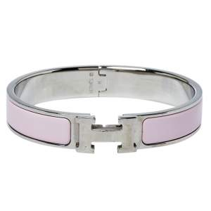 Hermès Clic H Rose Cassata Enamel Palladium Plated Narrow Bracelet PM