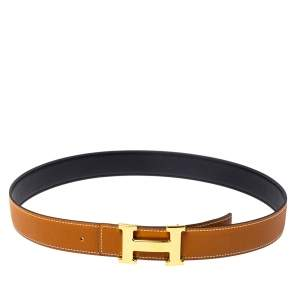 Hermes Gold/Black Togo and Swift Leather Constance Reversible Belt 95CM