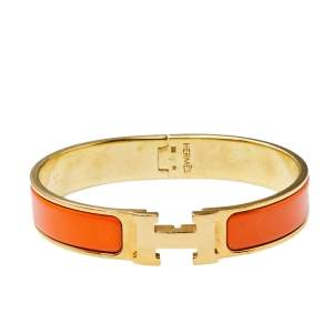 Hermès Clic H Orange Enamel Gold Plated Narrow Bracelet PM