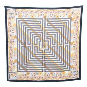 Hermes Grey Le Fil D'Ariane Silk Square Scarf