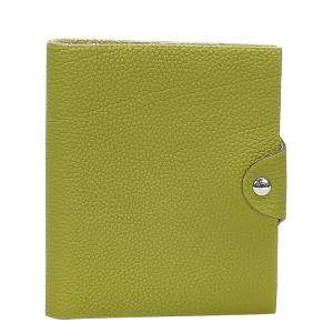Hermes Green Leather Ulysse MM Agenda Cover