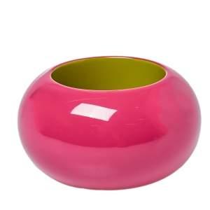 Hermès Fuchsia Pink & Lime Green Dune Bois Laqué Wide Bangle Bracelet S