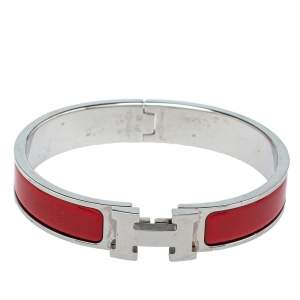 Hermès Clic H Red Enamel Palladium Plated Narrow Bracelet PM