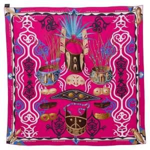 Hermes Pink Le Regard de L'Arctique Silk Square Scarf