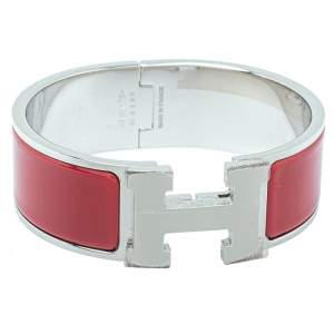 Hermès Clic Clac H Red Enamel Palladium Plated Wide Bracelet PM
