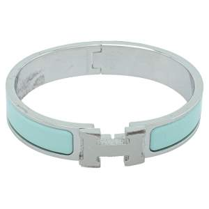 Hermès Clic H Sea Green Enamel Palladium Plated Narrow Bracelet PM