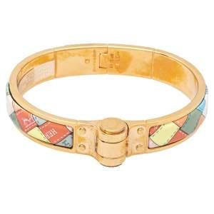 Hermès Romantique Bolduc au Carré Enamel Hinged Bracelet GM