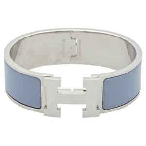Hermès Clic Clac H Lavender Enamel Palladium Plated Wide Bracelet GM