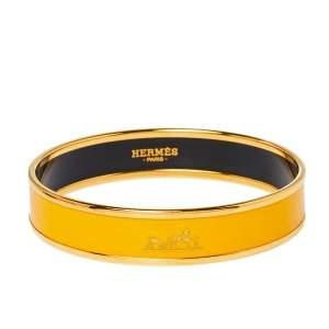 Hermès Yellow Enamel Gold Plated Caleche Bangle Bracelet