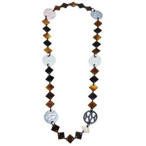 Hermès Brown Horn & Lacquered Wood Lena Station Necklace