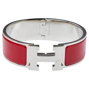 Hermès Clic Clac H Red Enamel Palladium Plated Wide Bracelet PM