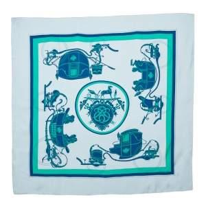 Hermes Blue Ex-Libris Silk Scarf