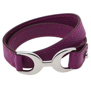Hermès Purple Leather Baby Pavane Double Tour Bracelet M