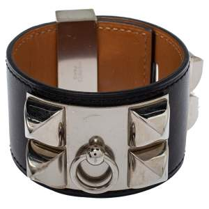 Hermès Collier de Chien Black Leather Palladium Plated Wide Bracelet S