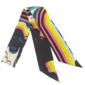 Hermes Multicolor Brides de Gala Shadow Embroidered Twilly Scarf