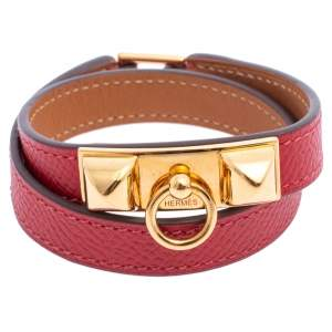 Hermès Red Leather Rivale Double Tour Bracelet S