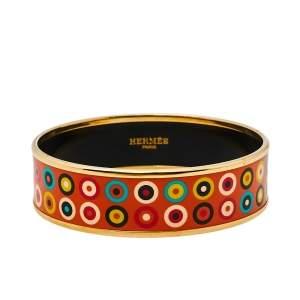 Hermès Orange Dancing Circles Enamel Gold Plated Wide Bangle Bracelet