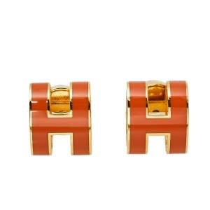 Hermès Pop H Orange Lacquered Gold Plated Stud Earrings