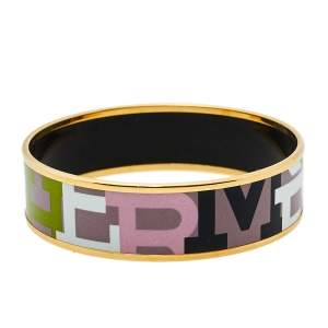 Hermès Multicolor Enamel Gold Plated Capitales Wide Bracelet