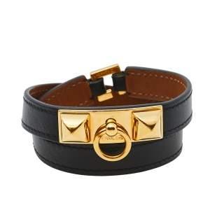 Hermès Rivale Double Tour Black Leather Gold Plated Bracelet S