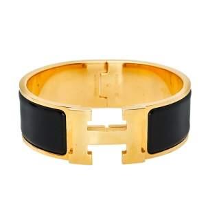 Hermès Clic Clac H Black Enamel Gold Plated Wide Bracelet PM