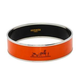 Hermès Orange Enamel Palladium Plated Caleche Bangle Bracelet