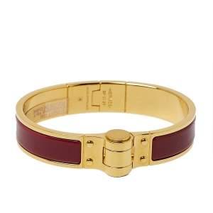 Hermès Charniere Uni Rouge de Chine Enamel Hinged Bracelet