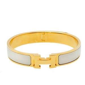 Hermes Gold Plated Nacre Enamel Clic H Narrow Bracelet PM