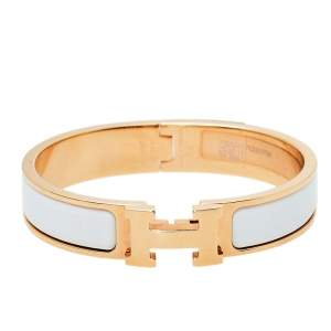 Hermes Rose Gold Plated White Enamel Clic H Narrow Bracelet PM