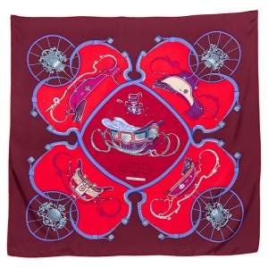 Hermes Red & Maroon Springs Silk Square Scarf