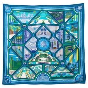Hermès Blue & Green Flanerie a Versailles Silk Square Scarf