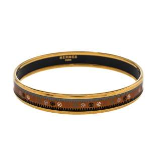 Hermès Orange Printed Enamel Gold Plated Bangle Bracelet