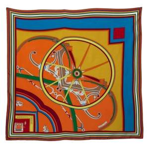 Hermes Orange Washington's Carriage Detail Wash Silk Scarf