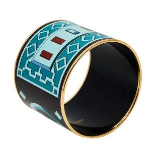 Hermès Bicolor Collier De Chien Print Enamel Mega Wide Bracelet