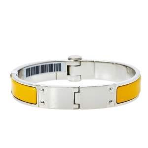 Hermès Yellow Enamel Palladium Plated Hinged Bracelet