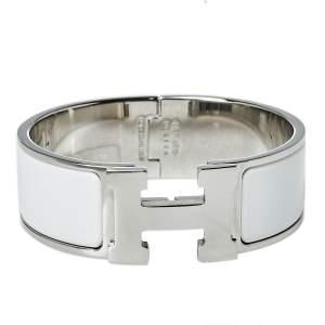Hermès Clic Clac H White Enamel Palladium Plated Wide Bracelet PM