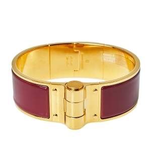 Hermès Charniere Rouge de Chine Gold Plated Hinged Bracelet L