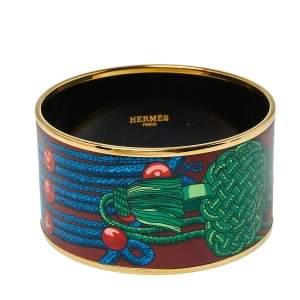 Hermès Brandebourg Gold Plated Enamel Wide Bangle Bracelet