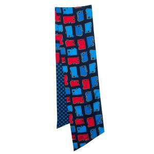 Hermès Red & Blue Camails Silk Maxi Twilly