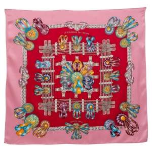 Hermes Pink Les Rubans Du Cheval Silk Scarf